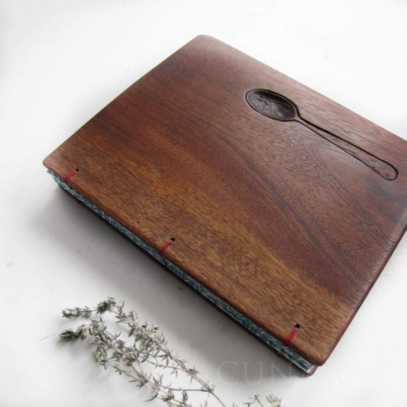 Wood Cover Cookbook ~ Personalized recipe book wooden covers blue spine
