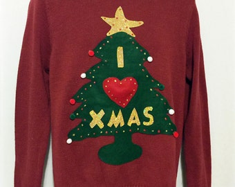 Ugly Christmas Sweater, Sweater, Christmas Sweater, Ugly Sweater Party, Red Sweater, Medium, Item #3