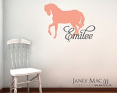 Horse Wall Decal with Name - Vinyl Custom Children's Horse with Name Wall Art - Girls Bedroom Nursery - CM119B