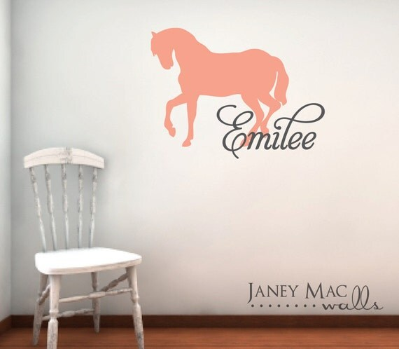 Horse Wall Decal with Name - Vinyl Custom Children's Horse with Name Wall Art - Cowgirl Bedroom Nursery - CM119