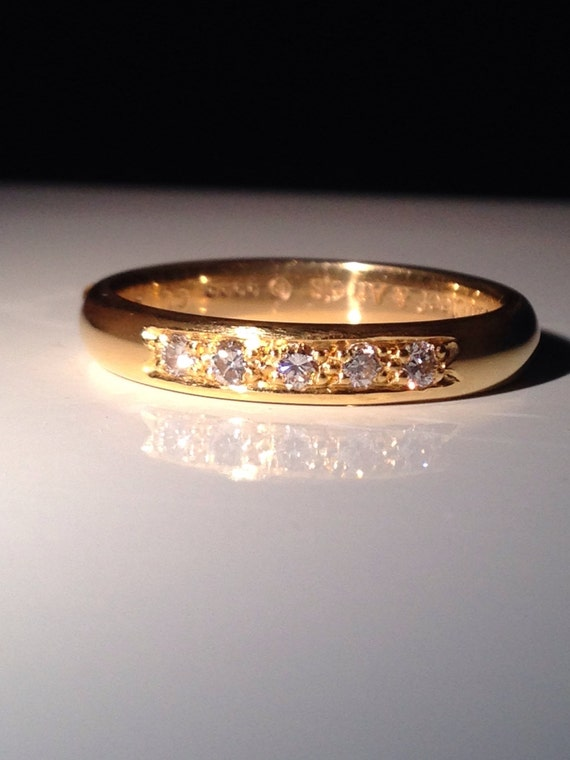 24K Gold French 4mm Ring or Band with Five 2mm Diamonds (9.6 grams) for Him or Her - Wedding (Van Cleef and Arpels)