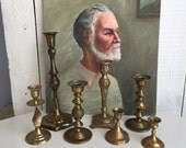 Vintage Brass Candlesticks - Cluster of 7 - Set by Chase - Mixed Lot