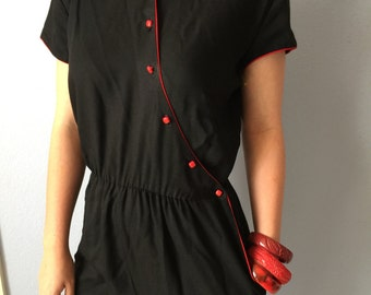 Vintage Jumpsuit -1980s Asian Romper Small
