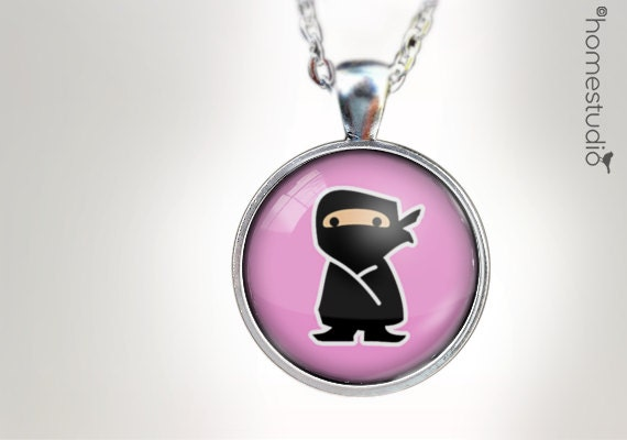 Ninja Girl : Glass Dome Necklace, Pendant or Keychain Key Ring. Gift Present metal round art photo jewelry HomeStudio. Silver Copper Bronze