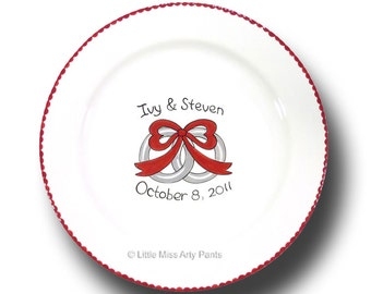 "Personalized Wedding Signature 11"" Plate - Wedding Rings Design"