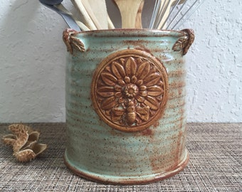 Ceramic Utensil Holder - Green Vase - Kitchen Storage - Stoneware Pottery - Honey Bee - Mandala - Green Canister