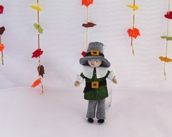Thanksgiving Decoration - Felt Art Doll - Piksee Dresses Up as Pilgrim for Thanksgiving