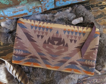Earth Light Flame Natural Brown Wool Clutch