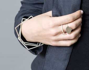 Sterling Silver Bangle Set, Silver Bangle Bracelet, Thin Bangle set, Geometric Silver Bangle, Solid Silver Bangle, Silver Stacking Bangles