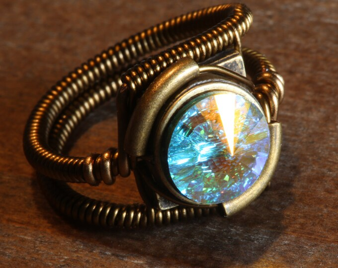 Steampunk Jewelry - RING - Aurora Borealis Swarovski Crystal (Custom size available - see description)