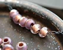 Lavender Fields - Czech Glass Beads, Transparent, Lavender, Metallic Copper Lined, Rollers 6x9mm - Pc10
