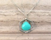 Modern Turquoise Necklace - Blue Turquoise Pendant Necklace in Sterling Silver with Hexagon Geometric Link - December Birthstone Necklace