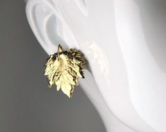 Vintage Napier Gold Leaf Clip Earrings