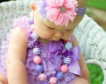 Pink and Lavender Baby Headband..Newborn Headband..Vintage Inspired Pink and Lavender Headband..Infant Headband....Baby Headbands
