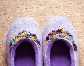 Wool slipper women Felt natural wool shoes Purple gray slippers felted  Valentines gift for her