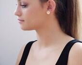 Handmade 14K Gold earrings, Circle Dot Disk, Statement Earrings, Solid Yellow Gold, Geometric Minimal Studs, Grande Iris Earrings