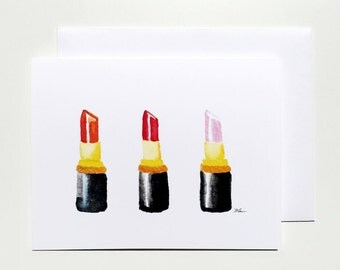 Lovely Lipsticks Notecard Set of 5 Cards