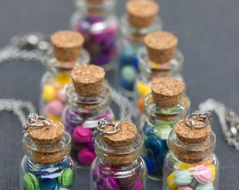 Miniature Macarons Necklace, Glass Vial with Rainbow Pastries