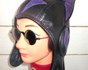 Cat-Ear Kitty Aviator Hat in Black/ Purple Leather with Swirl Earcup Details