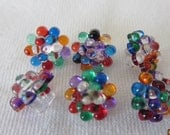 Set of 6 Small VINTAGE Multi Color Dot Plastic BUTTONS