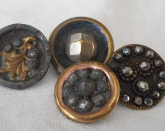 Lot of 4 ANTIQUE Cut Steel & Metal BUTTONS