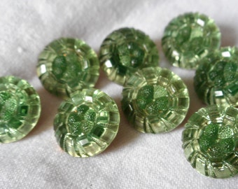 Set of 8 VINTAGE Green Mercury Back Glass BUTTONS