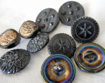 5 Sets of 2 VINTAGE Black Glass BUTTONS   S5