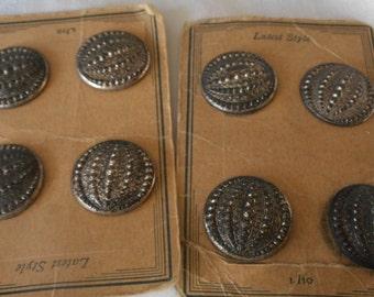 Set of 8 VINTAGE Metal Dot BUTTONS