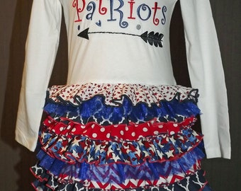Ruffle T-Shirt Dress, Patriots, NFL, Football, College, High School Spirit, Mascot