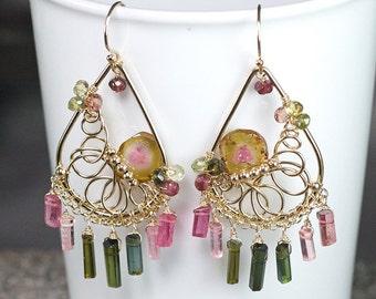 Watermelon Tourmaline slice earrings, Tourmaline crystal stick chandelier, 14k gold filled hooks ... MAIDALI Earrings