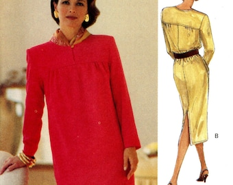 Vogue 8589 Easy Sheath Dress Loose Fitting Pullover Yoke Belted Size 14 16 18 Uncut Vintage Sewing Pattern 1993
