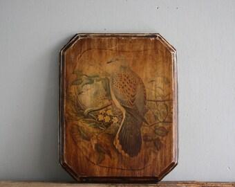 vintage wooden bird art plaque