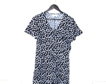 early 90s FLORAL mini dress blue RAYON daisy print GRUNGE baby doll romper suit os