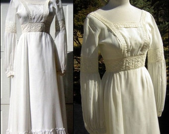 Vintage White Dress for Wedding or Prom Gown Juliet Style - Embroidery & Romance  Maxi Length Ruffles XS