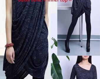 My Zen Extravegant dress + Thumb hole top /Asymmetric Long Sleeves Tunic Top Asymmetric Sleeveless Tunic Top/Cotton Maxi Blouse (Q1711)