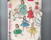 1950s Vintage Doll Sewing Pattern Simplicity 1779 18 Inch Doll Clothes Wardrobe Petticoat Robe Dress Coat 50s  99
