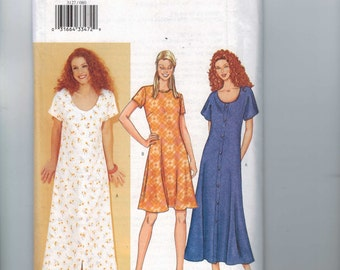 Misses Sewing Pattern Butterick 3127 Easy Misses Dress Loose Fitting Button Front Flared Scoop Neck Size 8 10 12 14 16 18 UNCUT