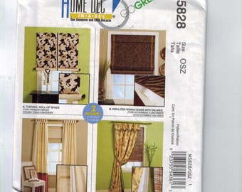 Craft Sewing Pattern McCalls M5828 5828 Home Decor Dec in a Sec Flounce Blocked Panel Curtains Roman Shade Roll Up Shade Treatment UNCUT