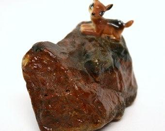 Vintage Miniature Deer Figurine on Petrified Wood Rock