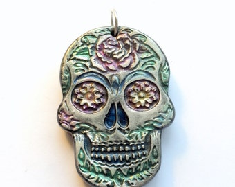 Black and Colorful Sugar Skull Day of the Dead Ornament or Decoration