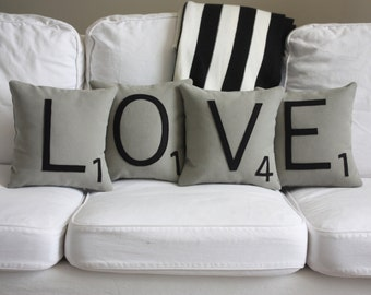 LOVE Scrabble Pillows - CASES ONLY // Scrabble Tile Pillows // Scrabble Words // Love Pillowcase // Custom Wedding Gift // Scrabble