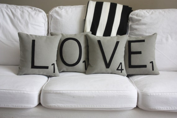 LOVE Scrabble Pillows - Inserts Included // Scrabble Tile Pillows // Letter Pillows // Large Scrabble Tiles // Decorative Pillow // Wedding