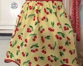 Retro Cherry Apron - Yellow