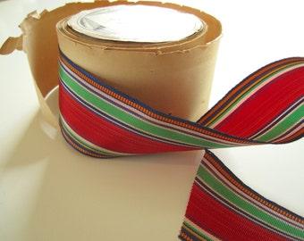 "Vintage Rayon Millinery & Dressmaking Ribbon Spool 1 1/2"" Wide Red, Green, Yellow Striped Taffeta"