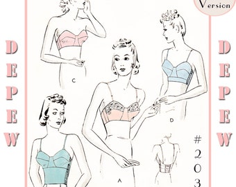 Vintage Sewing Pattern Reproduction 1930's Long Line & Strapless Bra #2031 - PAPER VERSION