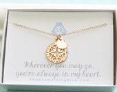 Best Friend Gift • Rose Gold Compass & Heart • Journey Necklace • Sentimental Gift • Traveler Gift • Compass Rose Charm • Bon Voyage Gift