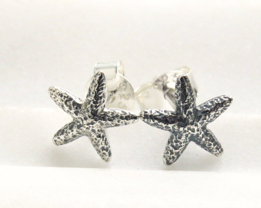 starfish stud earrings sterling silver starfish sea