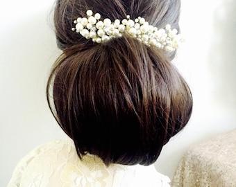 Pearl Bridal Hair Piece, pearl headpiece, wedding hair accessory, pearl hair accessory, pearl beaded hair piece, Swarovski hairpieces LORA