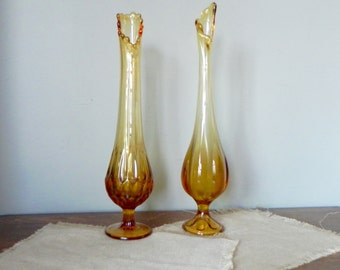 Vintage pair slag amber brown vases tall epic vases Viking