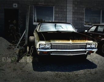 Man Cave Old Yellow Car Archival Canvas Print Wall Art
